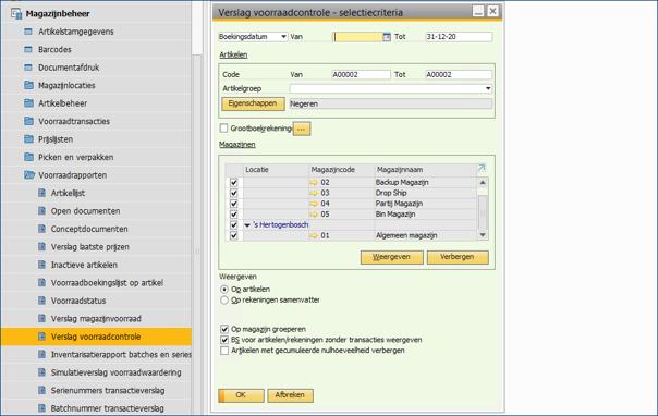 Asaptive SAP Business One - Verslag Voorraadcontrole