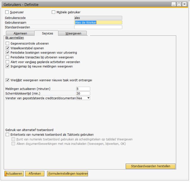 SAP Business One - Persoonlijke instellingen 2
