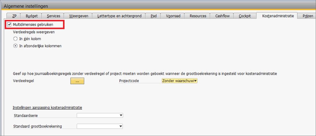 Kostenverbijzondering in SAP Business One 2