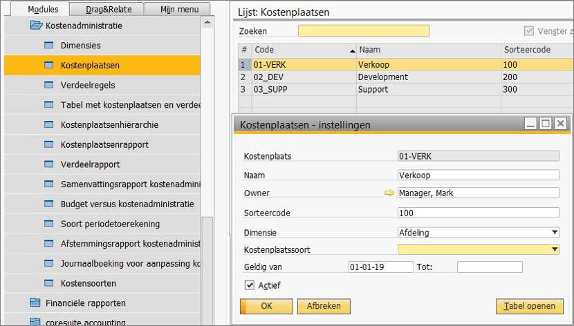Kostenverbijzondering in SAP Business One 5