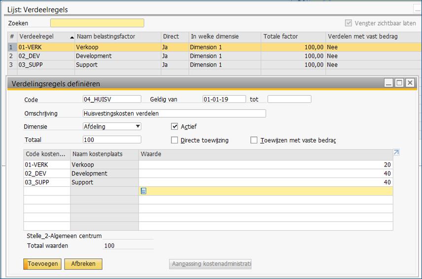 Kostenverbijzondering in SAP Business One 6
