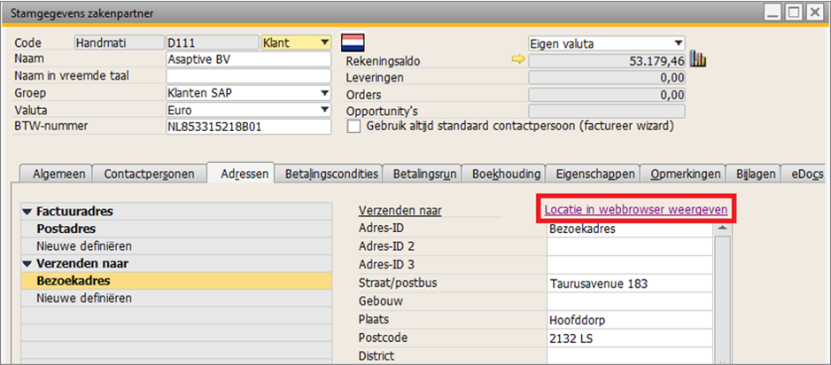 adressen in SAP Business One