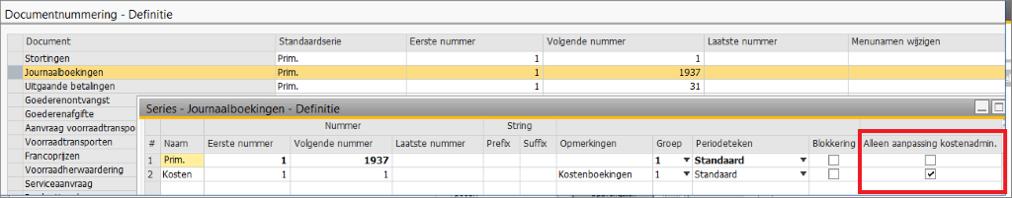 Kostenverbijzondering in SAP Business One 7