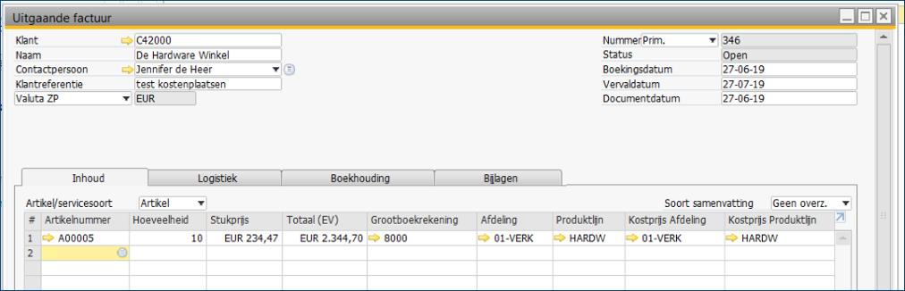 Kostenverbijzondering in SAP Business One 8