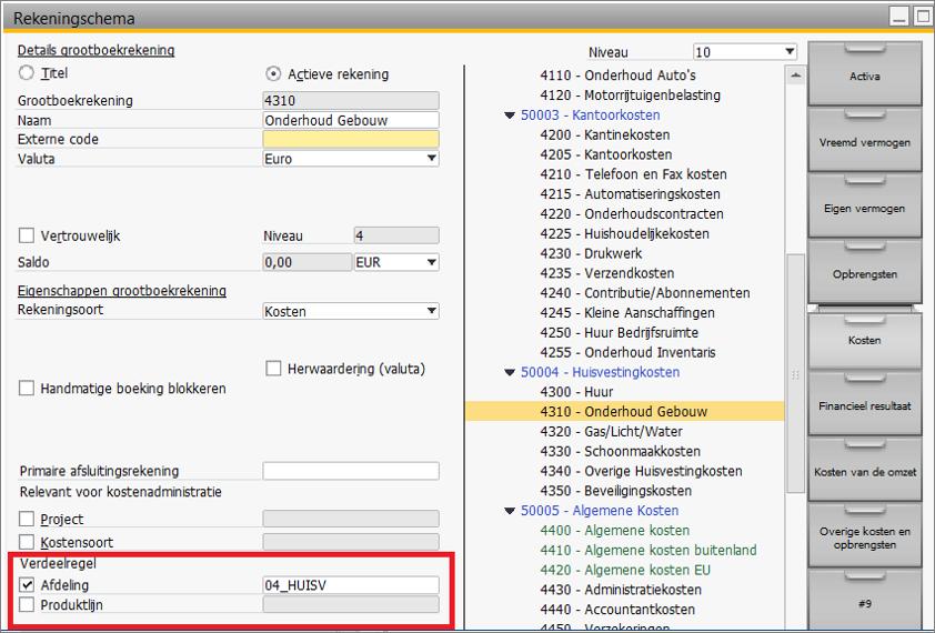 Kostenverbijzondering in SAP Business One 9