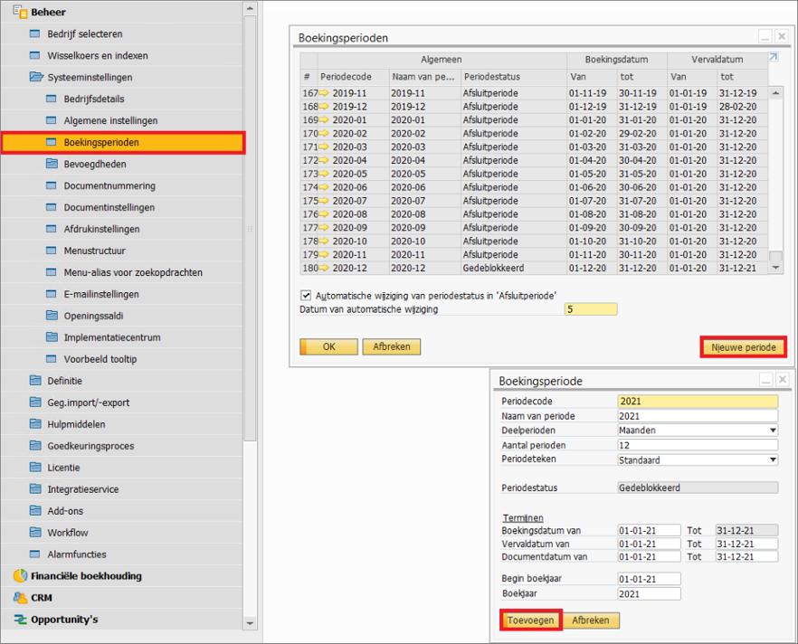 Asaptive boekingsperioden 2 SAP Business One Aanmaak nieuw boekjaar