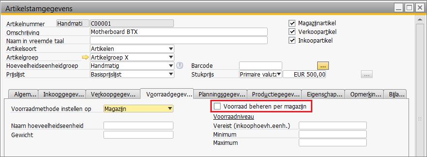 SAP Business One Magazijnbeheer Artikelen beheer per magazijn