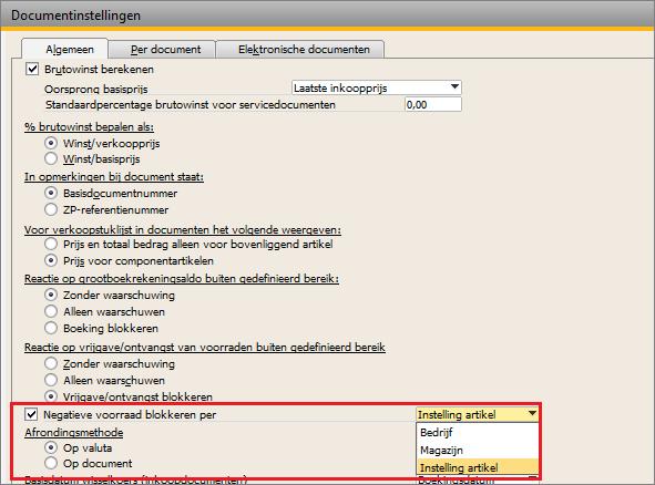 SAP Business One instelling magazijnbeheer negatieve voorraad blokkeren