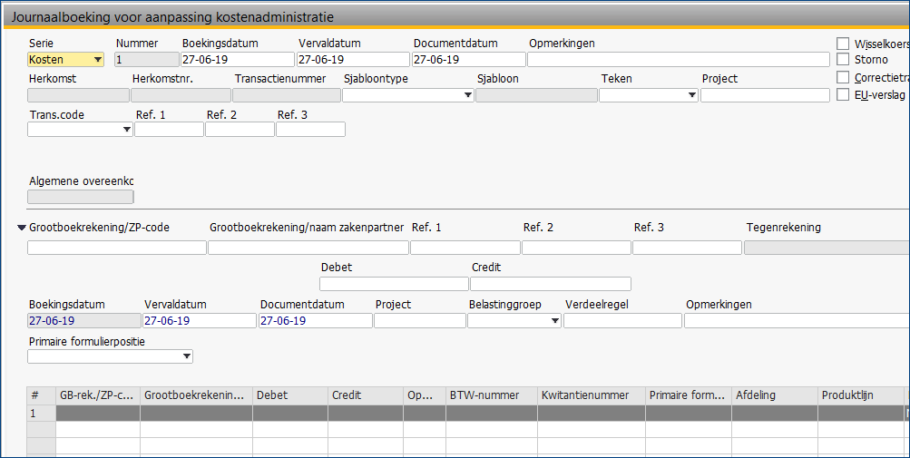 Kostenverbijzondering in SAP Business One 14