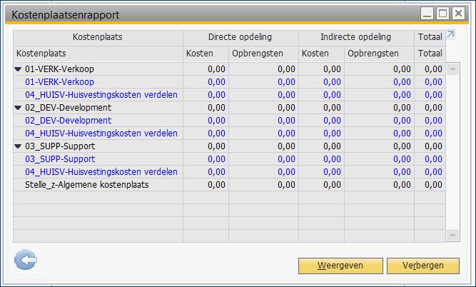 Kostenverbijzondering in SAP Business One 12